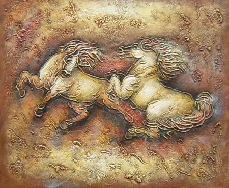 obrazy ručně malované - obraz Zvířata - Cval, obrazy do bytu