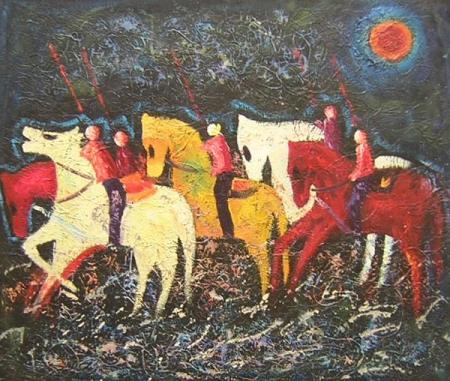 obraz Noční pochod koní