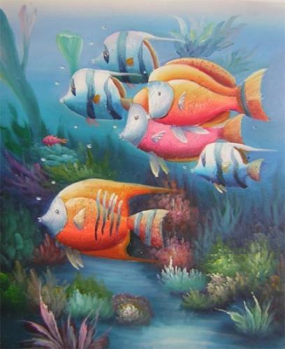 obrazy ručně malované - obraz Zvířata - Dno moře, obrazy do bytu