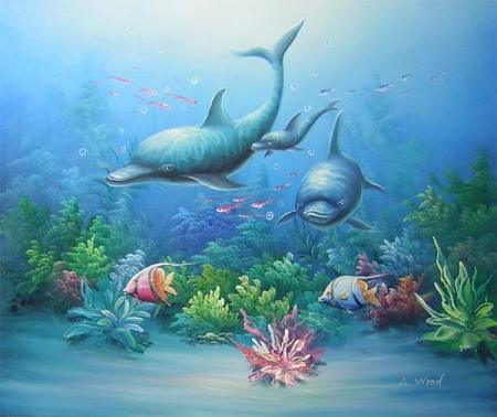 obrazy ručně malované - obraz Zvířata - Tři delfíni, obrazy do bytu