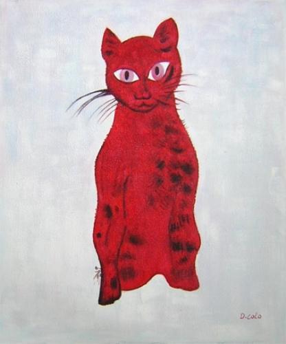 obraz Červená kočka
