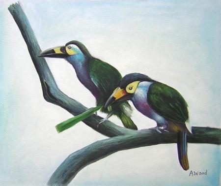 obrazy ručně malované - obraz Zvířata - Ptačí pár, obrazy do bytu
