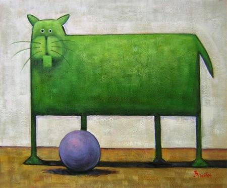 obrazy ručně malované - obraz Zvířata - Zelená kočka s míčem, obrazy do bytu