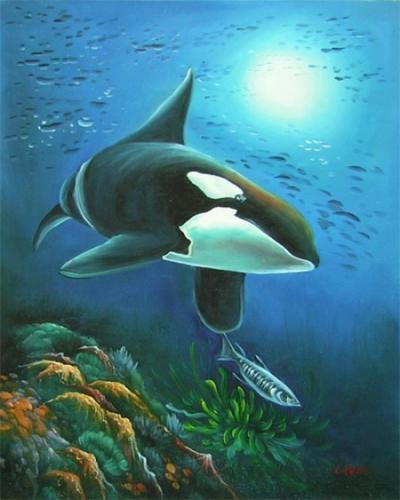 obrazy ručně malované - obraz Zvířata - Velryba, obrazy do bytu