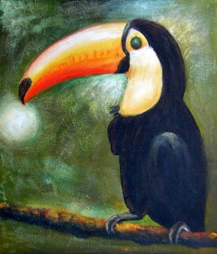 obrazy ručně malované - obraz Zvířata - Tukan, obrazy do bytu