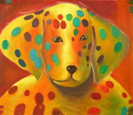 obraz Strakatý pes