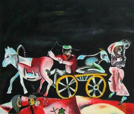 obraz Kůň s vlekem