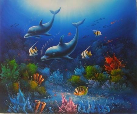 obraz Schůzka delfínů