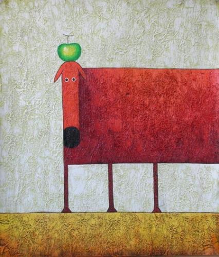 obraz Červený pes s jablkem