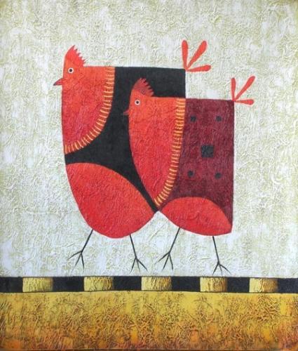 obraz Dvě slepice