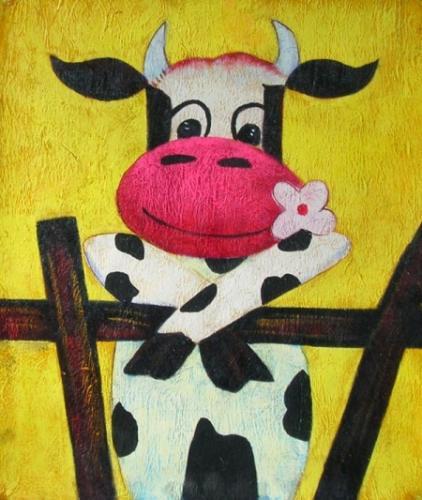 obraz Kráva v ohradě