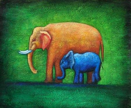 obraz Dva sloni
