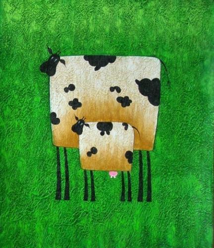 obraz Kráva s telátkem