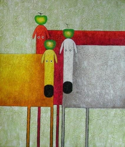 obraz Tři krávy a tři jablka