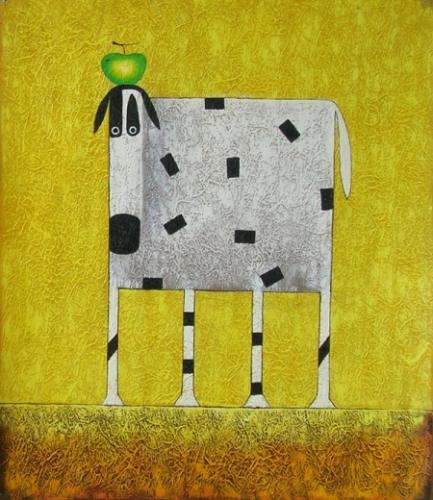 obraz Bílá kráva s jablkem