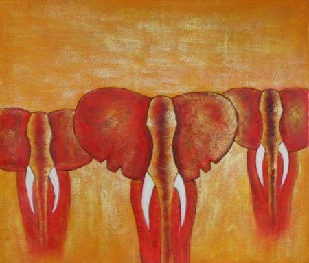 obrazy ručně malované - obraz Zvířata - Sloni, obrazy do bytu