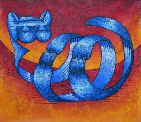 obraz Kočka ze stuhy
