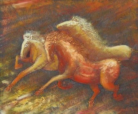 obraz Zdivočelí koně
