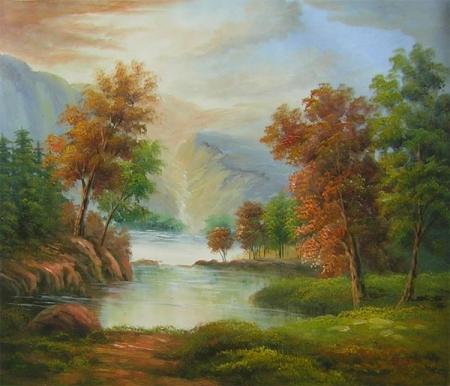 obraz Krajina s řekou