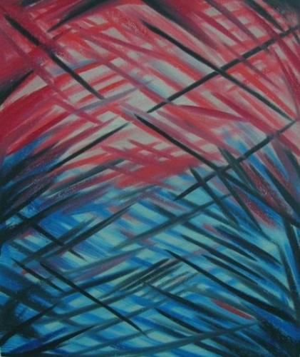 obrazy ručně malované - obraz Abstraktní obrazy - Modročervené blouznění, obrazy do bytu