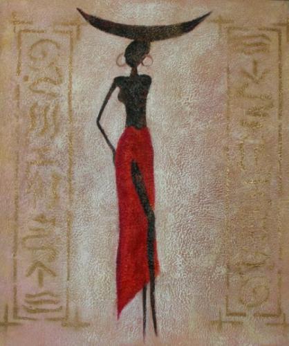 obraz Modelka v červené sukni