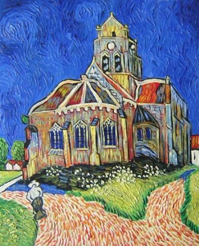 obrazy ručně malované - obraz Vincent Van Gogh - Kostel v Auvers, obrazy do bytu