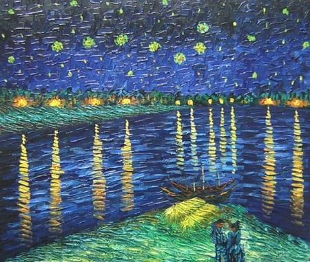 obrazy ručně malované - obraz Vincent Van Gogh - Hvězdná noc nad Rhônou, obrazy do bytu