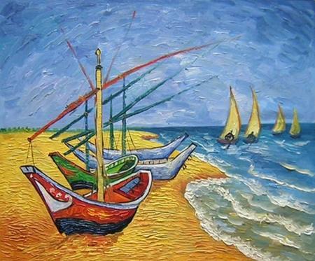 obrazy ručně malované - obraz Vincent Van Gogh -  Čluny ze Saintes-Maries, obrazy do bytu