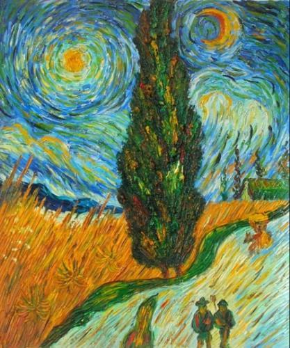 obrazy ručně malované - obraz Vincent Van Gogh - Hvězdná noc, obrazy do bytu