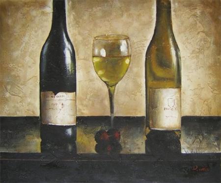 obraz Dvě láhve vína se sklenicí