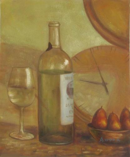 obraz Zátiší s bílým vínem