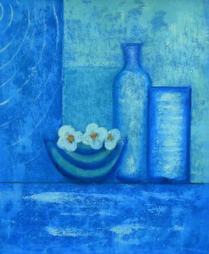 obraz Modré lahve