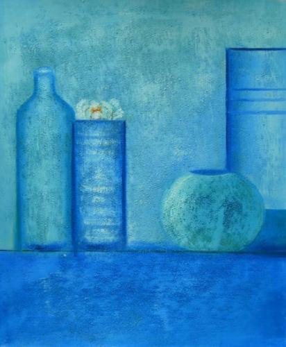 obraz Modré nádoby