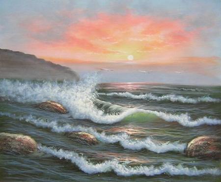 obrazy ručně malované - obraz Moře a lodě - Příliv moře, obrazy do bytu