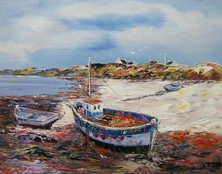 obrazy ručně malované - obraz Moře a lodě - Loď na břehu, obrazy do bytu