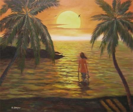 obraz Dívka v moři
