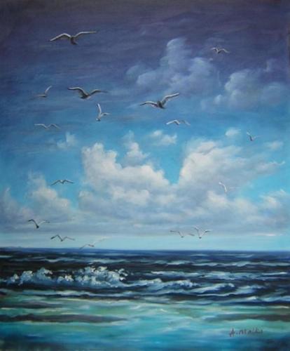 obrazy ručně malované - obraz Moře a lodě - Moře, obrazy do bytu