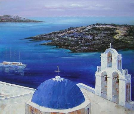 obrazy ručně malované - obraz Moře a lodě - Přístav u moře, obrazy do bytu