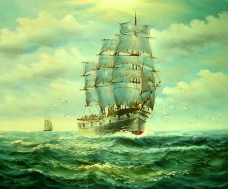 obrazy ručně malované - obraz Moře a lodě - Loď na moři, obrazy do bytu
