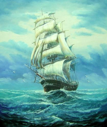 obrazy ručně malované - obraz Moře a lodě - Plachetnice na moři, obrazy do bytu