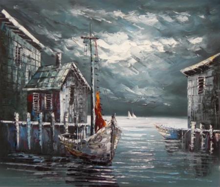 obraz Loď a dům