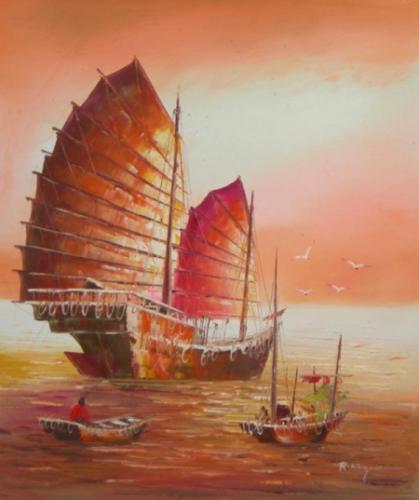 obraz Loď při západu slunce