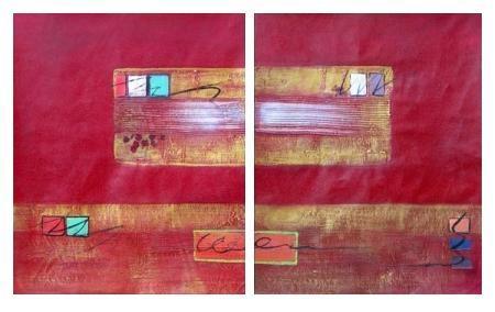 obraz Červená a zlatá