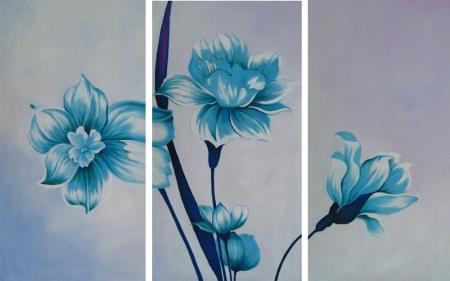 obraz Tři modré květy