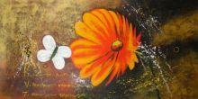 obraz Květ s motýlem