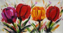 obraz Pestré tulipány