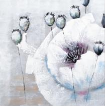 Abstraktní květiny - Vlčí mák a makovice, obrazy ručně malované