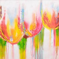 Abstraktní květiny - Barevné tulipány, obrazy ručně malované