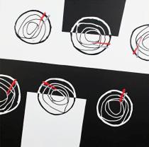 obrazy, reprodukce, čiernobiely abstrakt