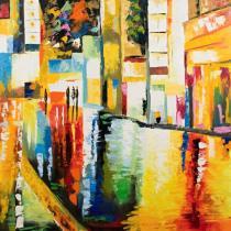 Domy, města, ulice - Ulice po dešti, obrazy ručně malované